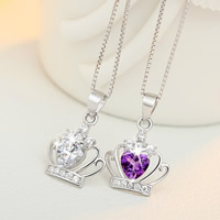 Rhinestone Brass Pendants, Crown, real silver plated, with rhinestone, more colors for choice, nickel, lead & cadmium free, 14x20mm, Hole:Approx 3-5mm, Sold By PC