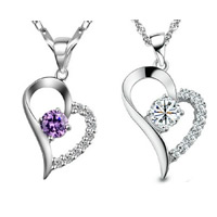Brass Heart Pendants, real silver plated, with rhinestone, more colors for choice, nickel, lead & cadmium free, 16x25mm, Hole:Approx 3-5mm, Sold By PC