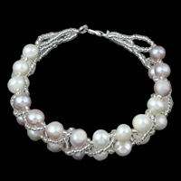 Freshwater Cultured Pearl Bracelet, Freshwater Pearl, with Glass Seed Beads, brass lobster clasp, Potato, natural, kumihimo & two tone, 5-6mm, Sold Per Approx 7 Inch Strand