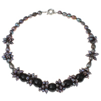 Crystal Freshwater Pearl Necklace, with Crystal & Brass, Round, faceted, purple, 9-11mm, Sold Per Approx 18.5 Inch Strand