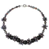 Kryształowy naszyjnik z perłami słodkowodnymi, Perła naturalna słodkowodna, ze Kryształ & Mosiądz, Koło, fasetowany, fioletowy, 9-11mm, sprzedawane na około 18.5 cal Strand