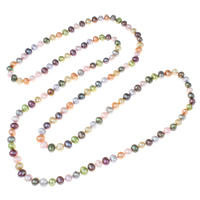 Natural Freshwater Pearl Long Necklace, Potato, multi-colored, 7-8mm, Sold Per Approx 47 Inch Strand