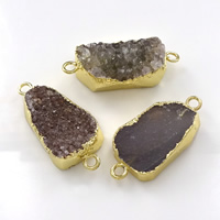 Druzy Connector, Brass, with Ice Quartz Agate, gold color plated, natural & druzy style & mixed & 1/1 loop, nickel, lead & cadmium free, 36-40x15-18x5-10mm, Hole:Approx 3mm, 10PCs/Lot, Sold By Lot