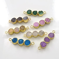Druzy Connector Brass with Ice Quartz Agate gold color plated natural   druzy style   1/1 loop mixed colors nickel lead   cadmium free 40-45x10-11x5-8mm Hole:Approx 3mm 10PCs/Lot