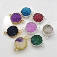 Druzy Connector Brass with Ice Quartz Agate plated natural   druzy style   1/1 loop mixed colors nickel lead   cadmium free 20-26x15-18x5-7mm Hole:Approx 2mm 10PCs/Lot