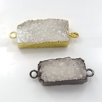 Druzy Connector Brass with Ice Quartz Agate Rectangle plated natural   druzy style   1/1 loop mixed colors nickel lead   cadmium free 36-42x13-16x9-12mm Hole:Approx 3mm 10PCs/Lot