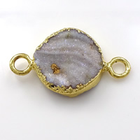 Druzy Connector Brass with Ice Quartz Agate Flat Round gold color plated natural   druzy style   1/1 loop nickel lead   cadmium free 14x23x4-6mm Hole:Approx 2mm 10PCs/Lot
