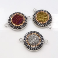 Druzy Connector Brass with Rhinestone Clay Pave   Ice Quartz Agate Flat Round platinum color plated natural   druzy style   1/1 loop mixed colors nickel lead   cadmium free 30x22x5mm Hole:Approx 2.5mm 10PCs/Lot