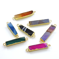 Agate Connector, Brass, with Agate, Rectangle, gold color plated, natural & 1/1 loop, mixed colors, nickel, lead & cadmium free, 40-48x7-10x3-5mm, Hole:Approx 3mm, 10PCs/Lot, Sold By Lot