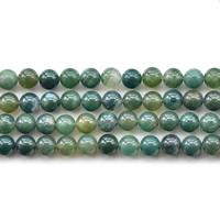 Luonnollinen Moss akaatti helmet, Pyöreä, erikokoisia valinnalle, Reikä:N. 1mm, Myyty Per N. 15.5 tuuma Strand