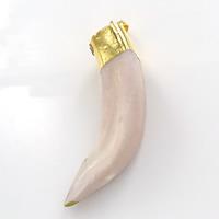 Естественный костяная подвеска, Латунь, с Природные коня зубов, плакирован золотом, природный, не содержит никель, свинец, 8-16x50-58x8-15mm, отверстие:Приблизительно 5x7mm, 10ПК/Лот, продается Лот