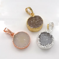 Natural Agate Druzy Pendant, Brass, with Ice Quartz Agate, Flat Round, plated, druzy style, more colors for choice, nickel, lead & cadmium free, 13-16x18-20x5-8mm, Hole:Approx 5x7mm, 10PCs/Lot, Sold By Lot
