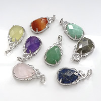 Gemstone Pendants Jewelry, Brass, with Gemstone, Teardrop, platinum color plated, natural & different materials for choice & faceted & with rhinestone, nickel, lead & cadmium free, 22x40x10mm, Hole:Approx 4x8mm, 5PCs/Lot, Sold By Lot