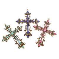 Zinc Alloy Cross Pendants, antique gold color plated, with rhinestone, more colors for choice, nickel, lead & cadmium free, 72x94x4.50mm, Hole:Approx 3mm, Sold By PC