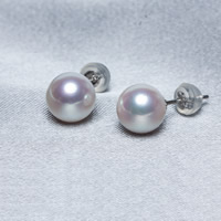 Natural Akoya Cultured Pearl Earrings Akoya Cultured Pearls with plastic earnut brass post pin Round white 8.5-9mm