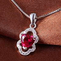 925 Sterling Silver Pendant, with cubic zirconia, red, 7x16mm, Hole:Approx 3x5mm, 2PCs/Lot, Sold By Lot
