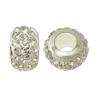 Rhinestone European Beads, Clay Pave, Rondelle, silver color plated, brass single core without troll & with rhinestone, white, nickel, lead & cadmium free, 7.50x12mm, Hole:Approx 5mm, Sold By PC