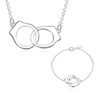 comeon® Jewelry Set, bracelet & necklace, Brass, Handcuffs, real silver plated, rolo chain, nickel, lead & cadmium free, 36x16mm, 36x16mm, Length:Approx 18 Inch, Approx 8 Inch, Sold By Set