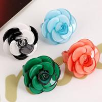 Акрил Манжеты палец кольцо, Форма цветка, Много цветов для выбора, 40mm, размер:7-9.5, 5ПК/сумка, продается сумка