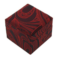 Velveteen Single Ring Box with Cardboard Cube red 60x50mm 24PCs/Lot