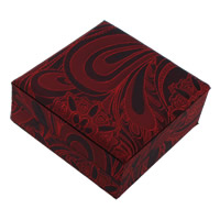 Satin Bracelet Box, with Cardboard, Square, red, 100x40mm, 18PCs/Lot, Sold By Lot