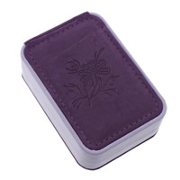 Velveteen Pendant Box, with Sponge & Cardboard, Rectangle, with flower pattern, purple, 70x100x38mm, 18PCs/Lot, Sold By Lot