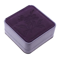 Velveteen Bracelet Box, with Sponge & Cardboard, Square, with flower pattern, purple, 90x42mm, 12PCs/Lot, Sold By Lot