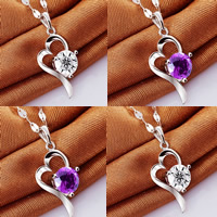 Brass Heart Pendants, real silver plated, with rhinestone, more colors for choice, nickel, lead & cadmium free, 10x25mm, Hole:Approx 3-5mm, Sold By PC