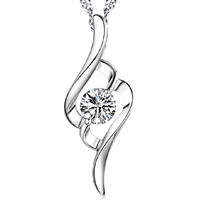 Rhinestone Brass Pendants, real silver plated, with rhinestone, nickel, lead & cadmium free, 10x28mm, Hole:Approx 2-3mm, Sold By PC