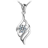 Rhinestone Brass Pendants, real silver plated, with rhinestone, nickel, lead & cadmium free, 8x20mm, Hole:Approx 3-5mm, Sold By PC
