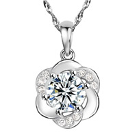 Rhinestone Brass Pendants, Flower, real silver plated, with rhinestone, nickel, lead & cadmium free, 11x17mm, Hole:Approx 3-5mm, Sold By PC