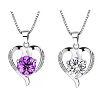 Brass Heart Pendants, real silver plated, with rhinestone, more colors for choice, nickel, lead & cadmium free, 15x23mm, Hole:Approx 3-5mm, Sold By PC