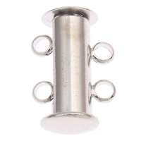 Zinc Alloy Slide Lock Clasp, platinum color plated, 2-strand, nickel, lead & cadmium free, 10x15x7mm, Hole:Approx 1.5mm, 10PCs/Bag, Sold By Bag