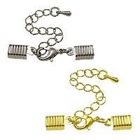 Brass Lobster Claw Cord Clasp, plated, with cord tip, more colors for choice, nickel, lead & cadmium free, 39mm,12x6.5x4mm, Hole:Approx 5.5x8mm, 200Strands/Lot, Sold By Lot