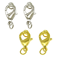 Brass Lobster Clasp, plated, more colors for choice, nickel, lead & cadmium free, 9x15x3.50mm, Hole:Approx 3mm, 300PCs/Bag, Sold By Bag