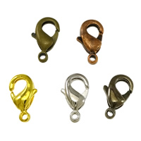 Brass Lobster Clasp, plated, more colors for choice, lead & cadmium free, 10x5x3mm, Hole:Approx 1mm, 800PCs/Bag, Sold By Bag