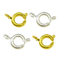 Brass Spring Ring Clasp, plated, more colors for choice, lead & cadmium free, 6x9x2mm, Hole:Approx 1mm, 1500PCs/Bag, Sold By Bag
