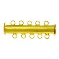Mosiężne zapięcie przesuwane, Mosiądz, Platerowane w kolorze złota, 5 żyłek, bez zawartości niklu, ołowiu i kadmu, 30x10x7mm, otwór:około 1.5mm, 100komputery/wiele, sprzedane przez wiele