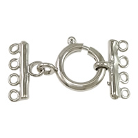 Brass Spring Ring Clasp platinum color plated with connector bar   4-strand nickel lead   cadmium free 30x15.5x2mm 16.5x14.5x3mm 9x15.5x2mm Hole:Approx 1.5mm 100Sets/Lot