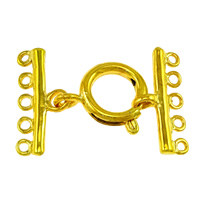 Brass Spring Ring Clasp, gold color plated, with connector bar & 5-strand, nickel, lead & cadmium free, 29x19.5x2mm, 9x19.5x2mm, 16x14x3mm, Hole:Approx 1.5mm, 100Sets/Lot, Sold By Lot