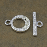 Brass Toggle Clasp, silver color plated, single-strand, nickel, lead & cadmium free, 19x14.5x3mm, 7.5x20.5x2mm, Hole:Approx 2.5mm, 100Sets/Lot, Sold By Lot
