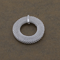 Brass Jewelry Pendants, Flat Round, real silver plated, nickel, lead & cadmium free, 37x4.50mm, Hole:Approx 2.5mm, Sold By PC