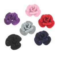 Aluminium bloem kralen, met fluwelen bedekt, meer kleuren voor de keuze, nikkel, lood en cadmium vrij, 21x11mm, Gat:Ca 2mm, 100pC's/Bag, Verkocht door Bag