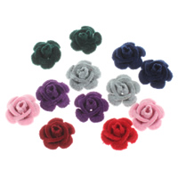 Aluminium bloem kralen, met fluwelen bedekt, meer kleuren voor de keuze, nikkel, lood en cadmium vrij, 16x9mm, Gat:Ca 0.5mm, 100pC's/Bag, Verkocht door Bag