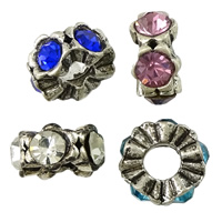 Rhinestone Spacers, Zinc Alloy, antique silver color plated, with rhinestone, more colors for choice, nickel, lead & cadmium free, 6x12x12mm, Hole:Approx 5mm, 200PCs/Lot, Sold By Lot