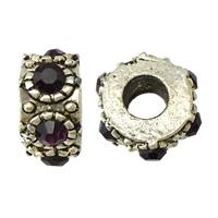 Rhinestone Spacers, Zinc Alloy, Donut, antique silver color plated, with rhinestone, nickel, lead & cadmium free, 7x14x14mm, Hole:Approx 5mm, 200PCs/Lot, Sold By Lot