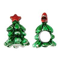 Pandor Kerst Kralen, Zinc Alloy, Kerstboom, platinum plated, Kerst sieraden & zonder troll & glazuur, nikkel, lood en cadmium vrij, 11.50x16x11mm, Gat:Ca 5mm, 100pC's/Lot, Verkocht door Lot