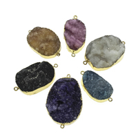 Druzy Connector Ice Quartz Agate with iron bail gold color plated natural   druzy style   1/1 loop 22x41x8mm-32x50x15mm Hole:Approx 2mm 10PCs/Bag