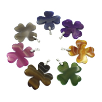 Lace Agate Pendants, with iron bail, Four Leaf Clover, silver color plated, mixed colors, 50x48x8mm, Hole:Approx 5x6mm, 10PCs/Bag, Sold By Bag
