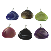 Lace Agate Pendants, with iron bail, silver color plated, 50x44x5mm-51x45x5mm, Hole:Approx 5x6mm, 10PCs/Bag, Sold By Bag
